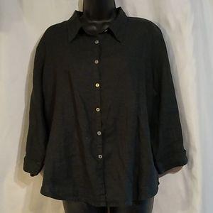 Kiko Black Linen Button Front Blouse Top